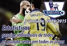 Estatísticas individuais e gerais de todos os guarda-redes em todos os jogos – Premier League – 3ª Jornada – 2014/2015