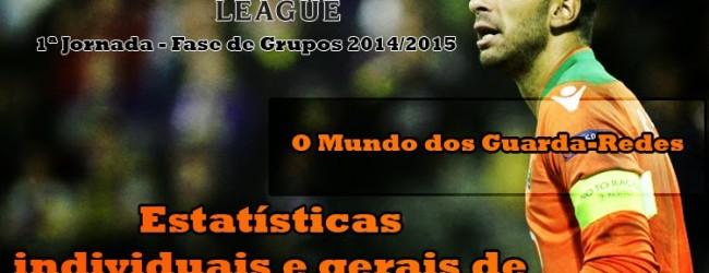 Estatísticas individuais e gerais de todos os guarda-redes em todos os jogos – Champions League – 1ª Jornada – 2014/2015