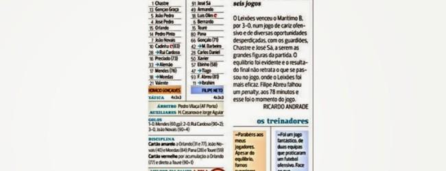 """Chastre """"a figura"""" no Leixões 3-0 Marítimo B – A Bola"""