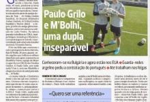 Paulo Grilo e M'Bolhi em destaque no jornal A Bola
