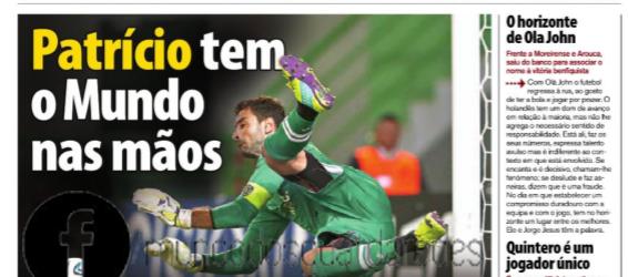 """Patrício com """"o Mundo nas mãos"""" por Rui Dias – Record"""