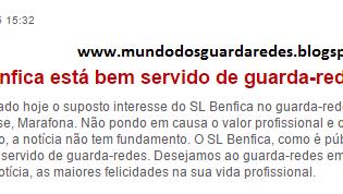 Carlos Marafona: Benfica emite comunicado sobre os rumores