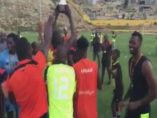Ricardo Batista e Valter Manaina campeões do Girabola com o Recreativo do Libolo
