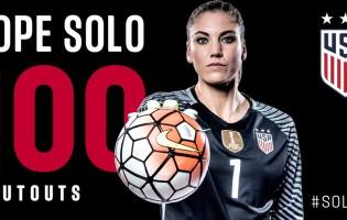 Hope Solo chega às 100 balizas virgens pelos Estados Unidos