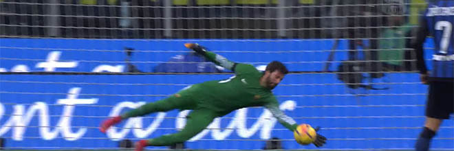 Alisson Becker defendeu bastante e também assistiu – FC Internazionale 1-1 AS Roma