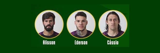 Alisson Becker, Cássio Ramos e Ederson Moraes convocados pelo Brasil para o Mundial'2018