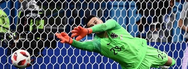 Danijel Subasic iguala Ricardo Pereira com maior número de penaltis defendidos numa decisão de Mundial