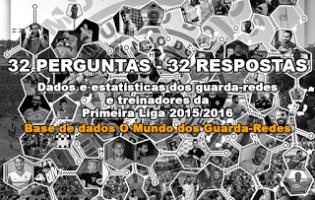32 perguntas e 32 respostas sobre dados e estatísticas dos guarda-redes e treinadores da Primeira Liga 2015/2016 – Base de dados O Mundo dos Guarda-Redes