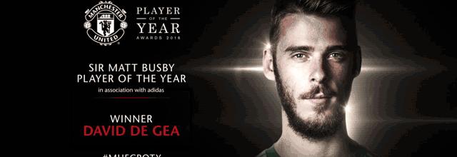David De Gea vence prémio de Jogador do Ano pelo terceiro ano consecutivo
