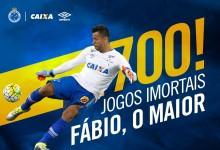 Fábio Deivson chega aos 700 jogos pelo Cruzeiro EC