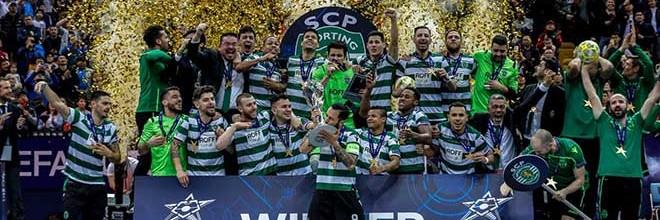 André Sousa, Guitta, Gonçalo Portugal e Raúl Oliveira campeões da Europa de Futsal pelo Sporting CP